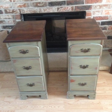 Discarded desk upcycled into refinished night-stands